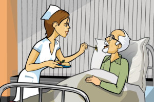 nurse feeding her patient in bed